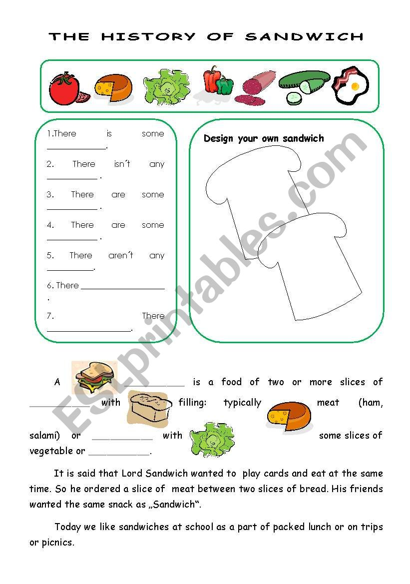 The history of sandwich worksheet