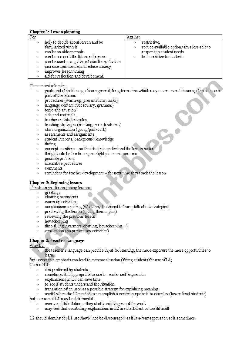 lesson planning, beginning lessons, teacher talk - ESL
