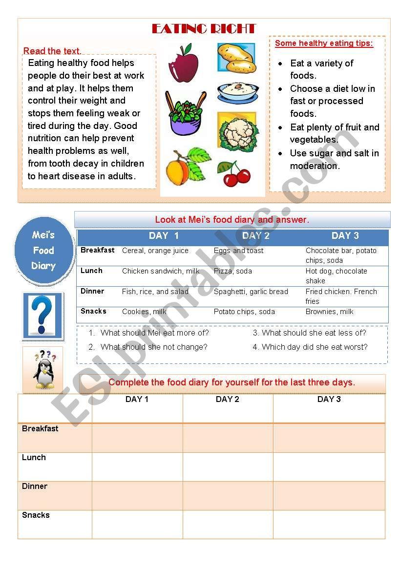 EATING RIGHT worksheet
