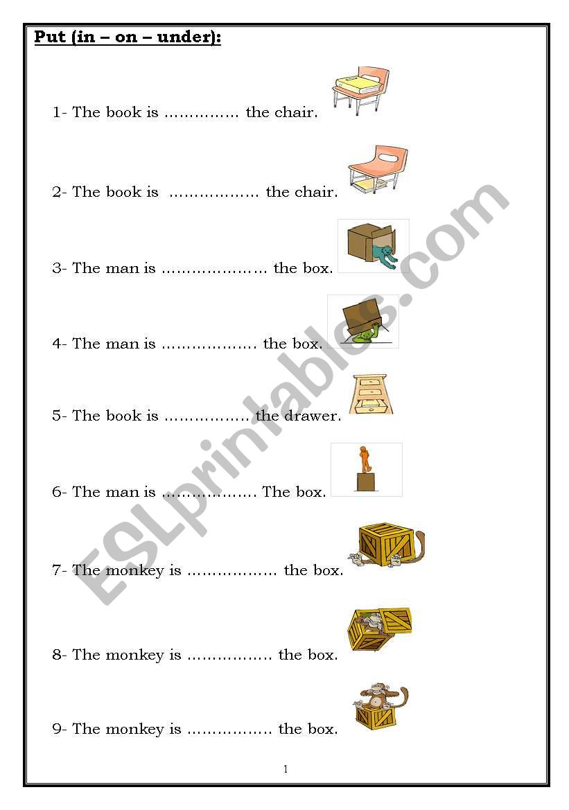 Put (in – on – under): - ESL worksheet by roma_ama