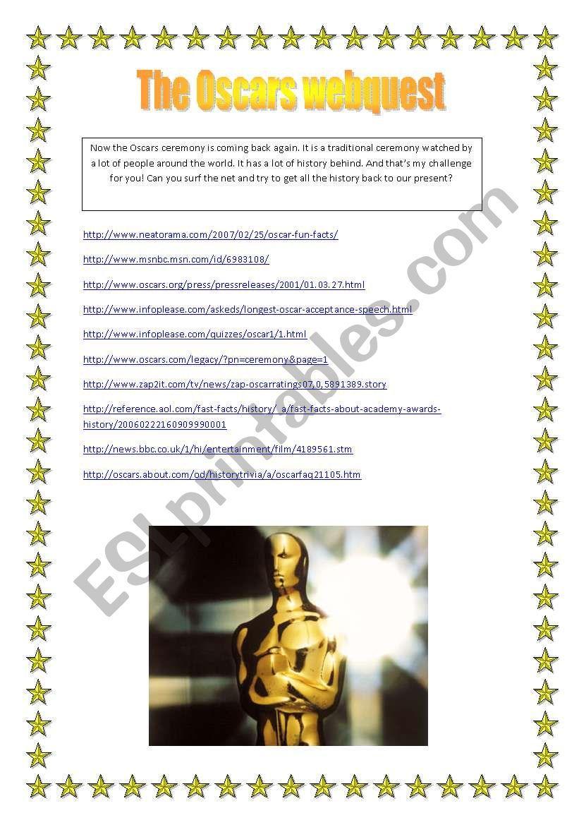 The Oscars webquest worksheet
