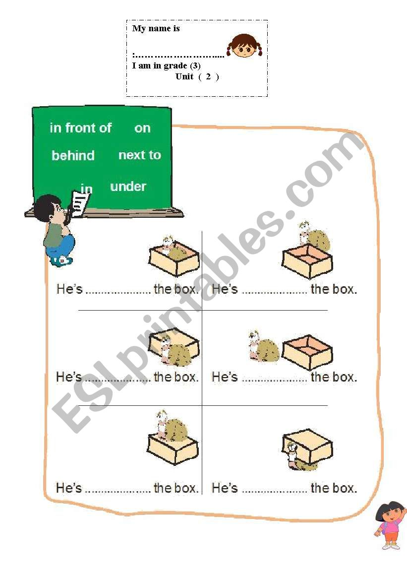 propositions of place worksheet