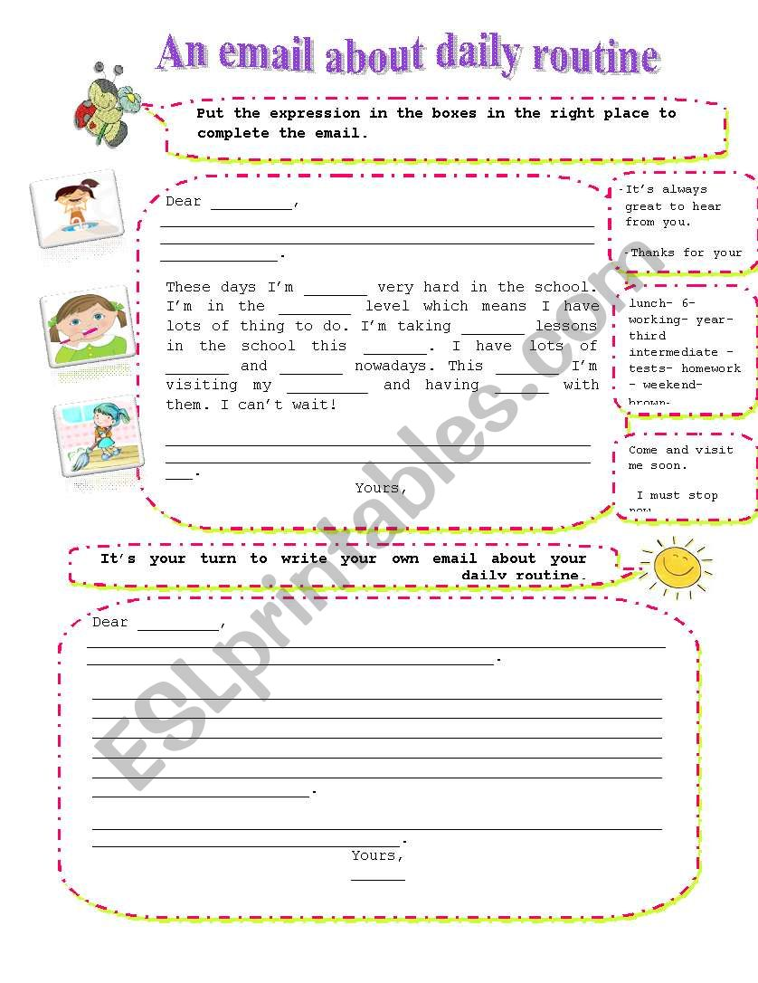daily routine email worksheet