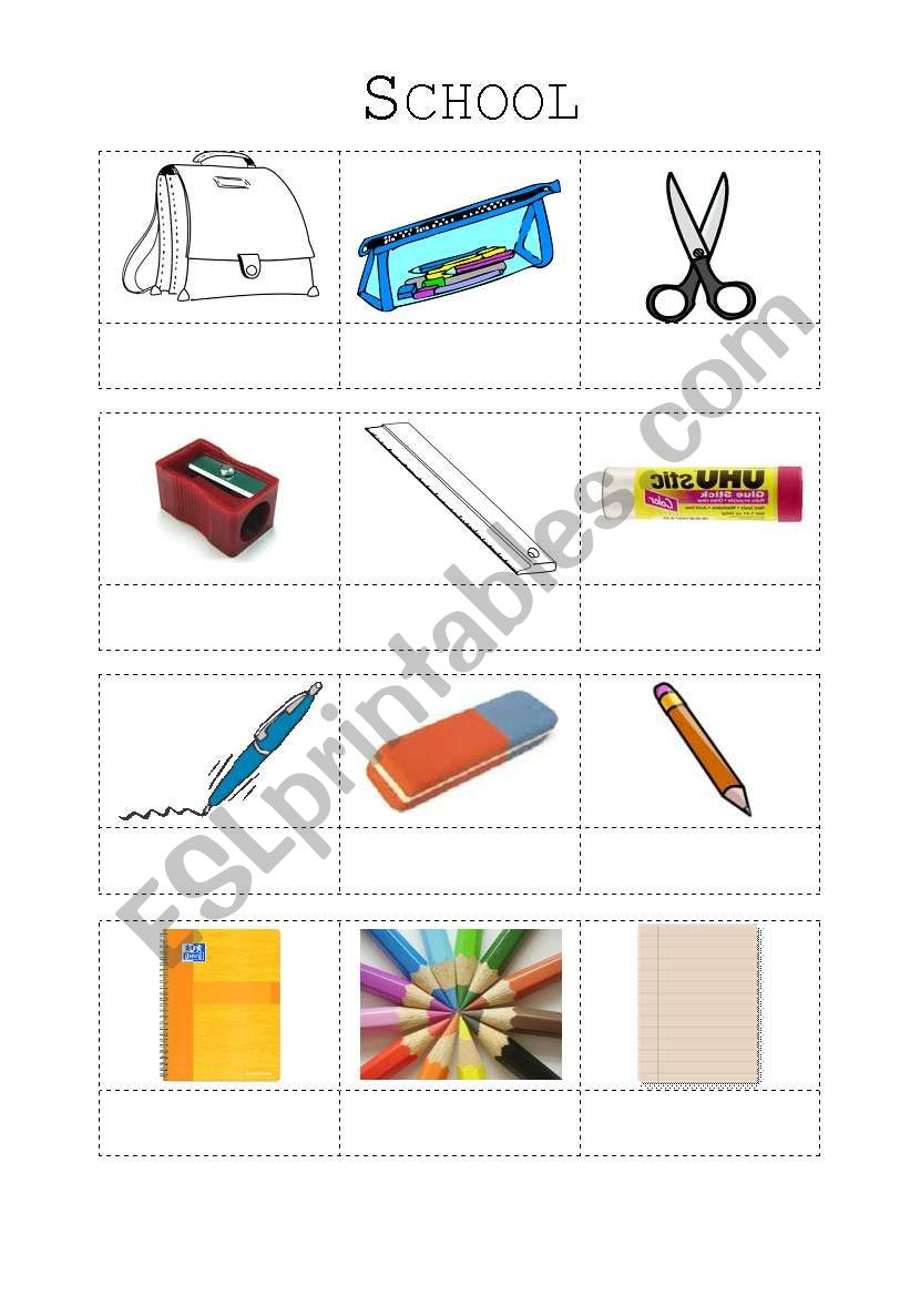 schoolthings - vocabulary worksheet
