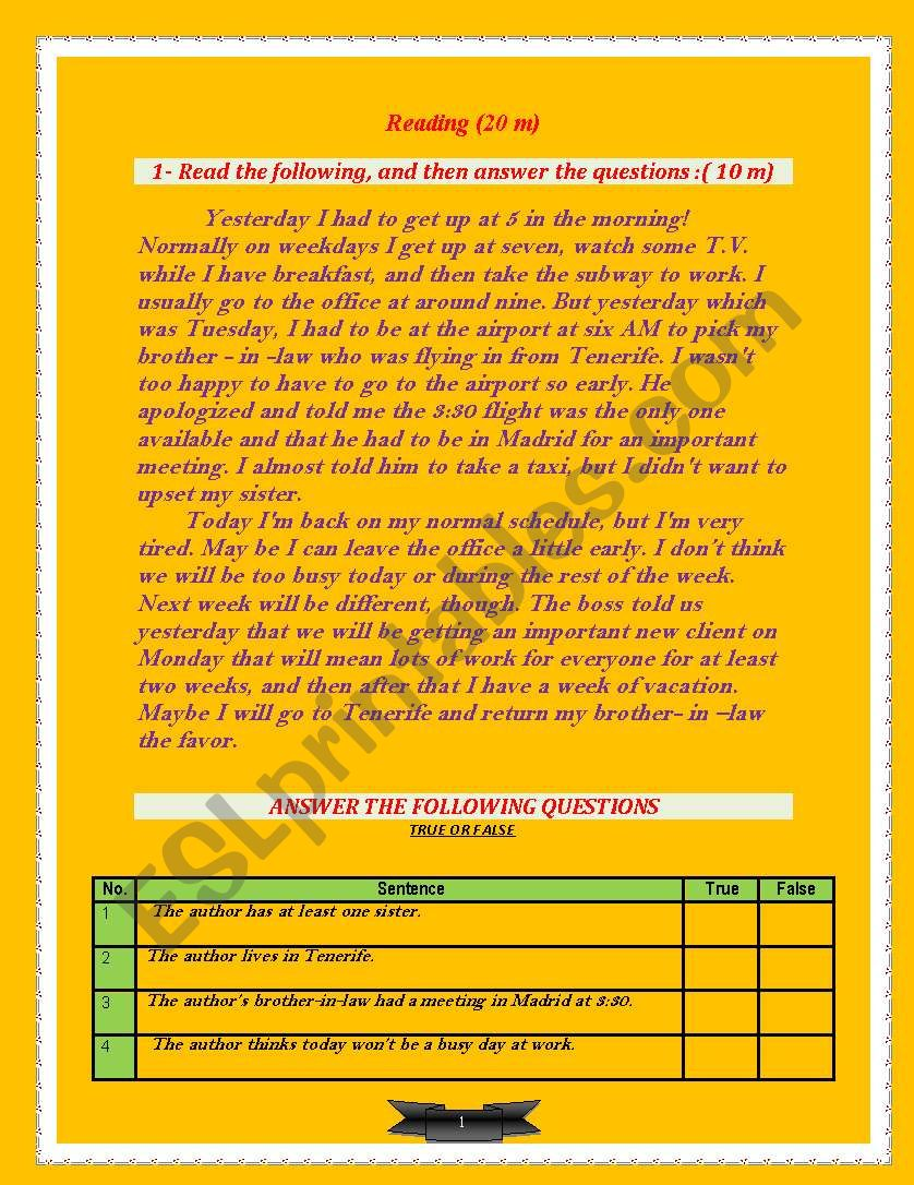 A 20 marks reading passage worksheet