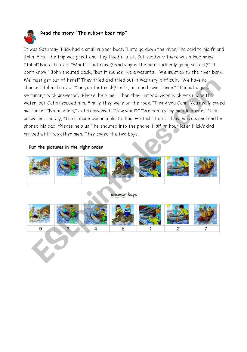 The rubber boat trip worksheet