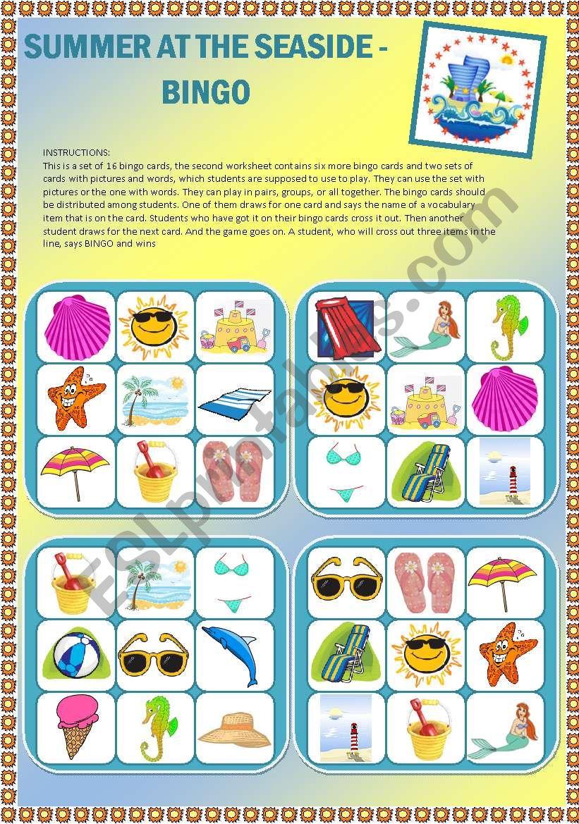 Summer at the seaside - Set of 16 bingo cards