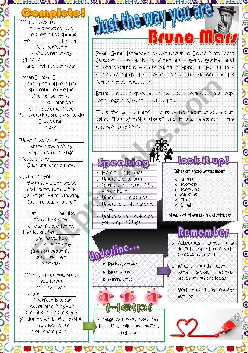 Just the way you are worksheet