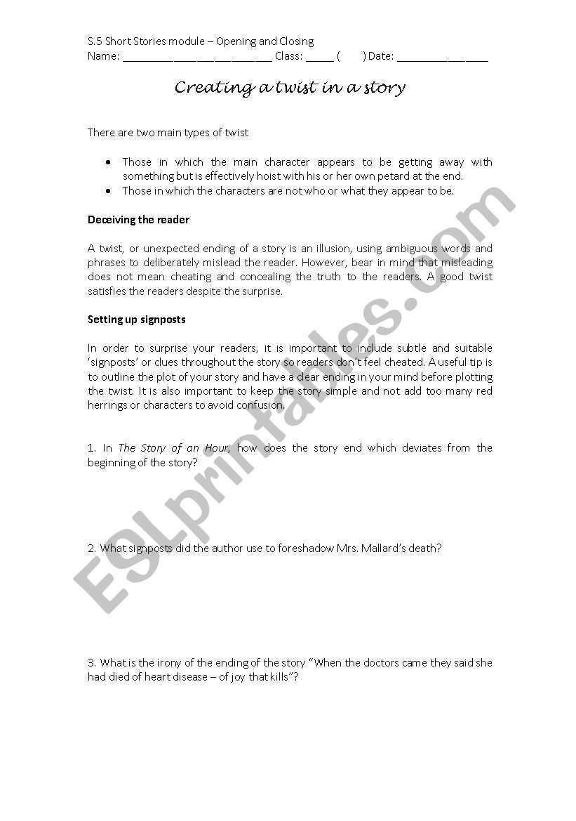 English worksheets: Creating a twist in a story
