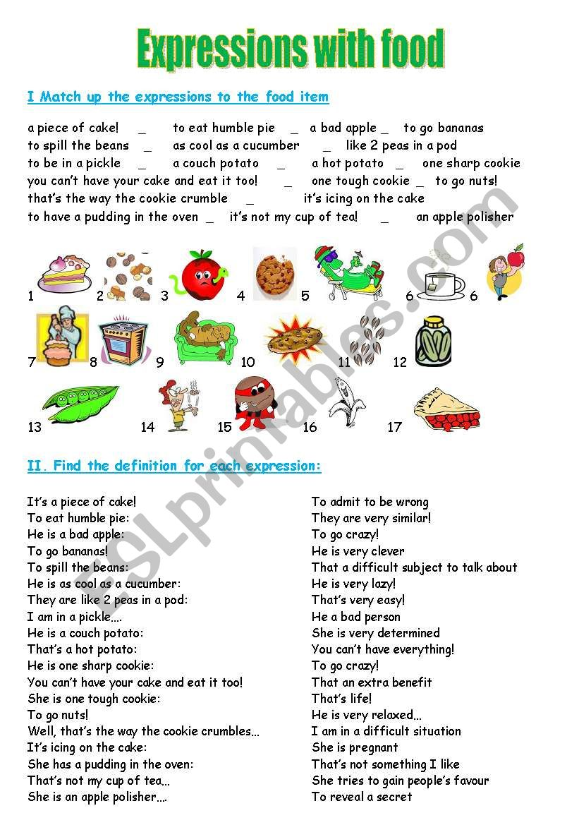 Expressions with food worksheet