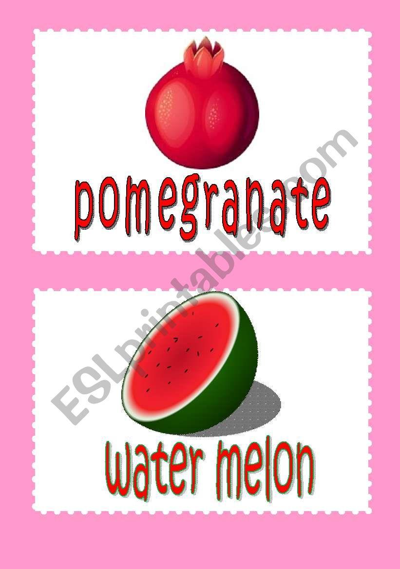 fruit flash-cards 2 worksheet