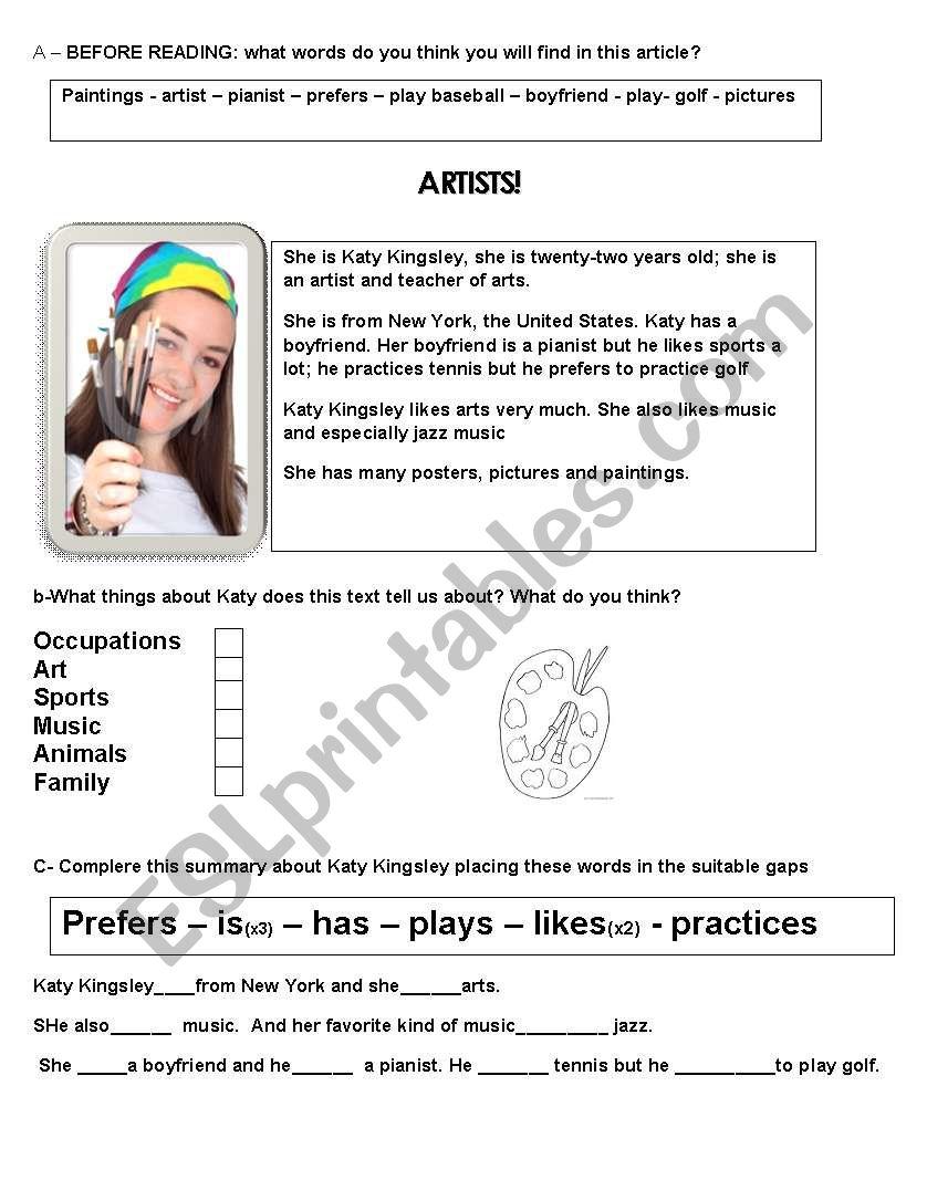 Artists! worksheet