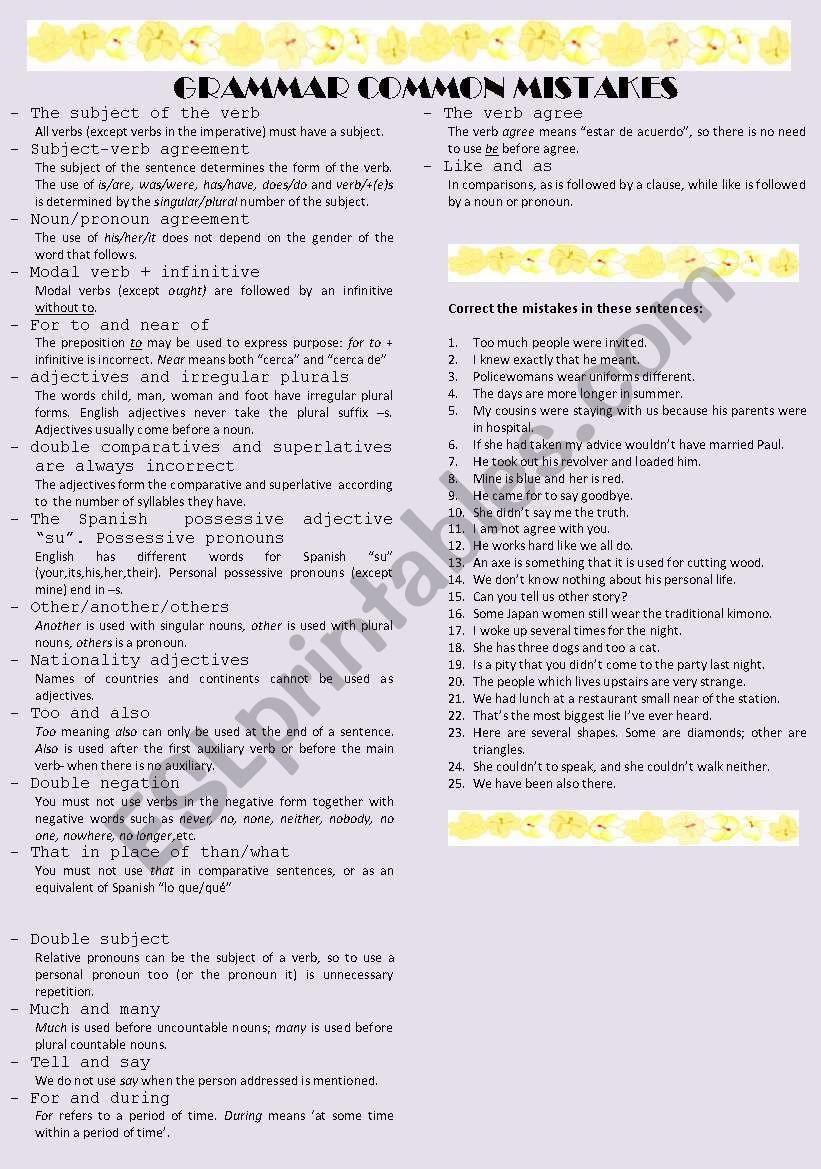 Grammar common mistakes worksheet