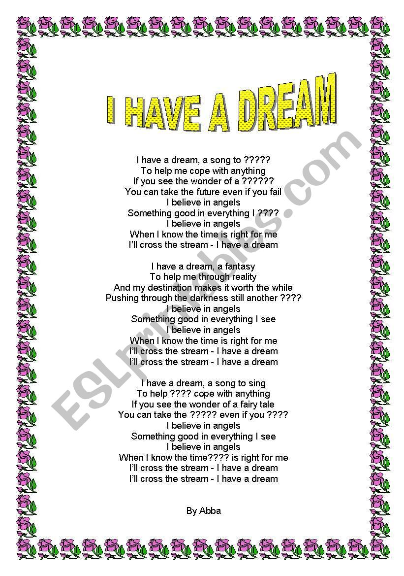 Abba I Have A Dream Esl Worksheet By Petervandestroyer