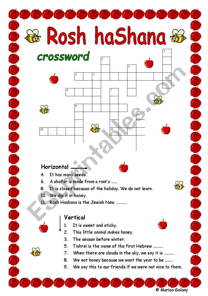 graphic relating to New Year Crossword Puzzle Printable called Jewish Fresh Yr Crossword - ESL worksheet by means of MarionG