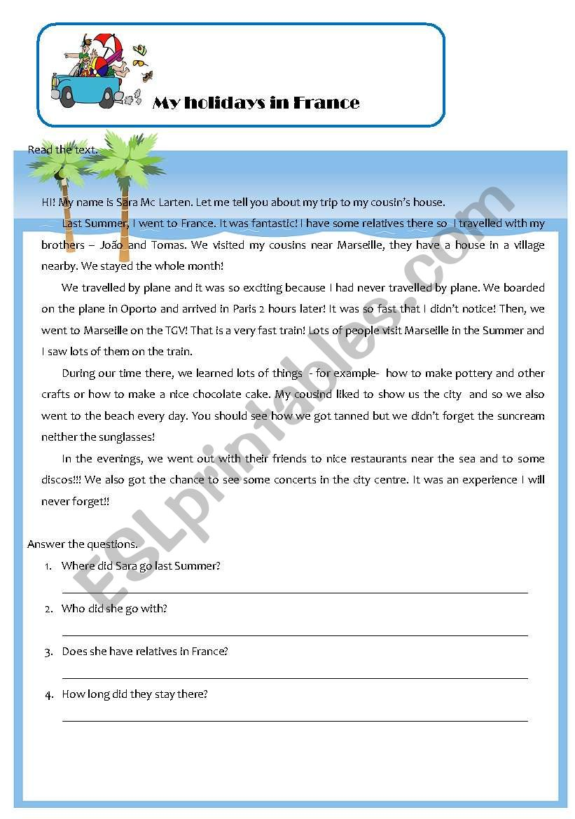 my holidays in france worksheet