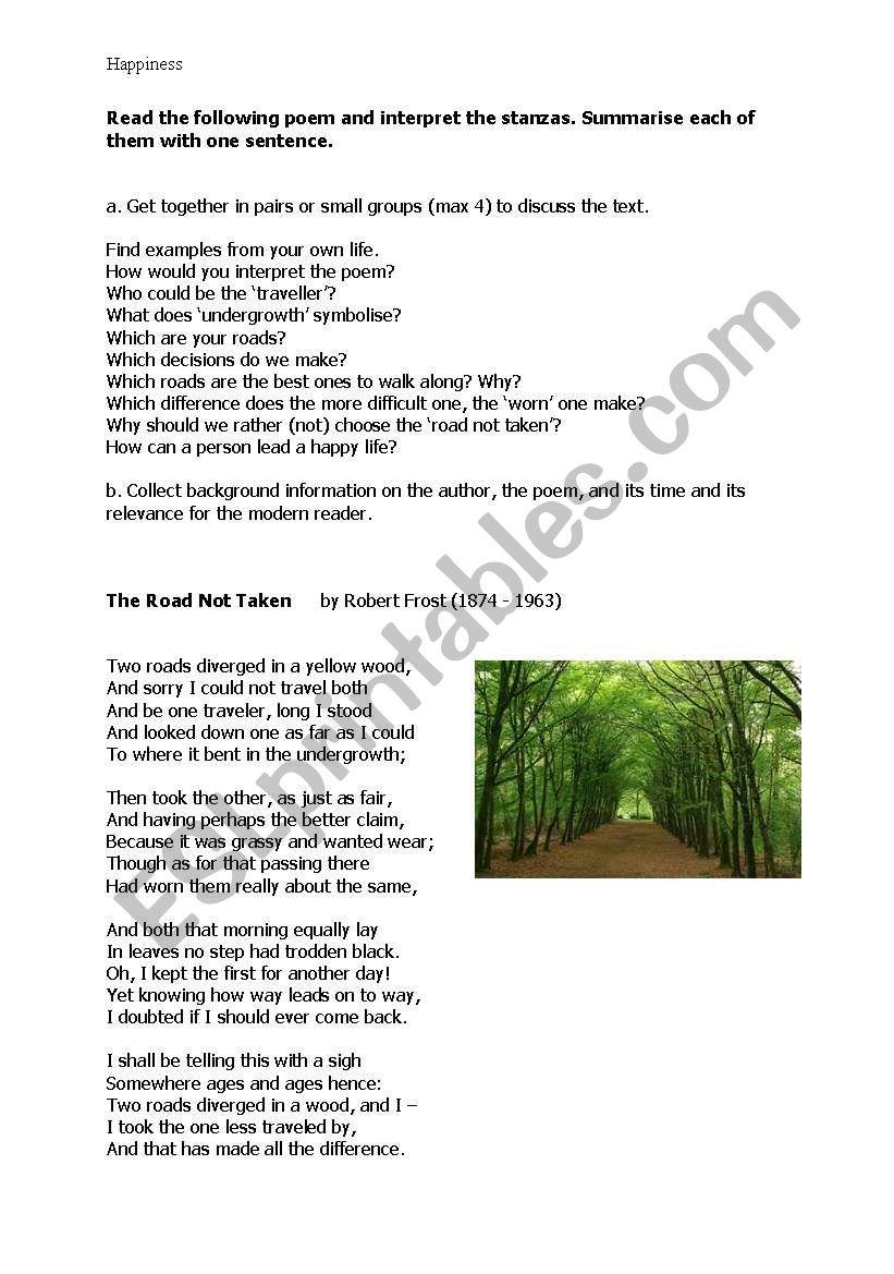 the road not taken by robert frost esl worksheet by christl tirol. Black Bedroom Furniture Sets. Home Design Ideas