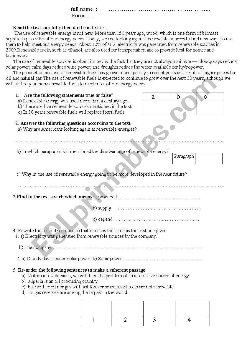 Renewable Energy worksheet