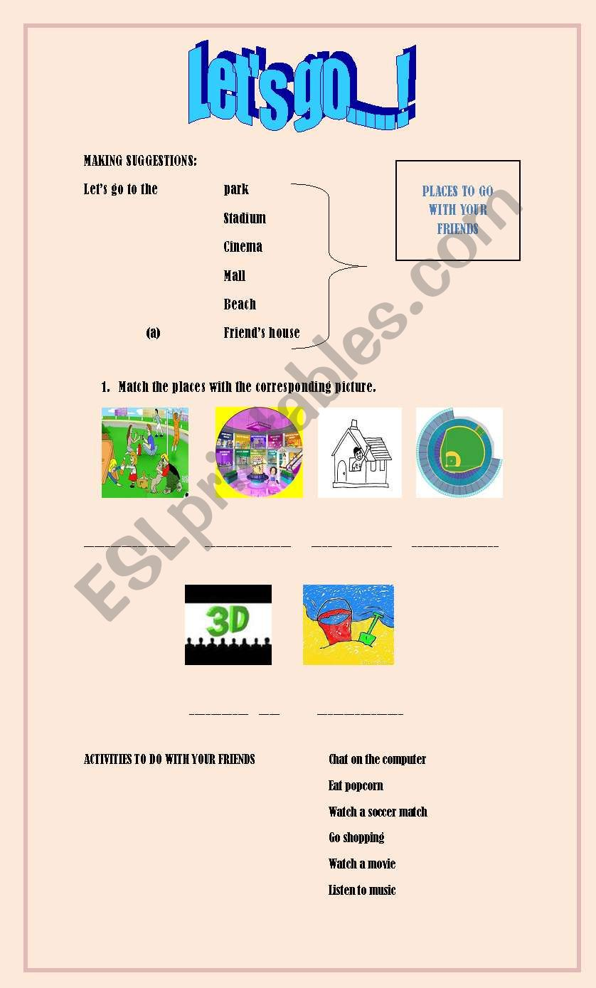 English worksheets: Let´s go making suggestions