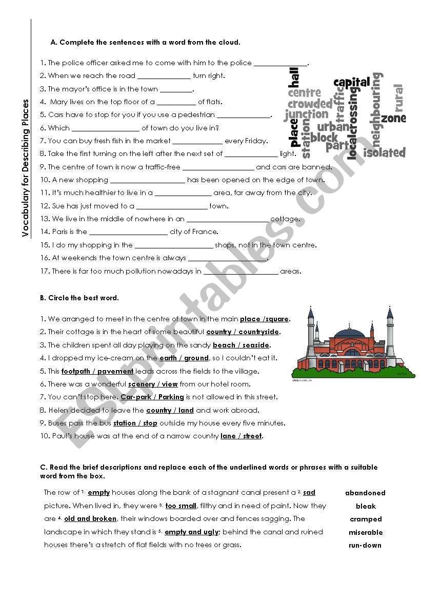 Describing Places worksheet