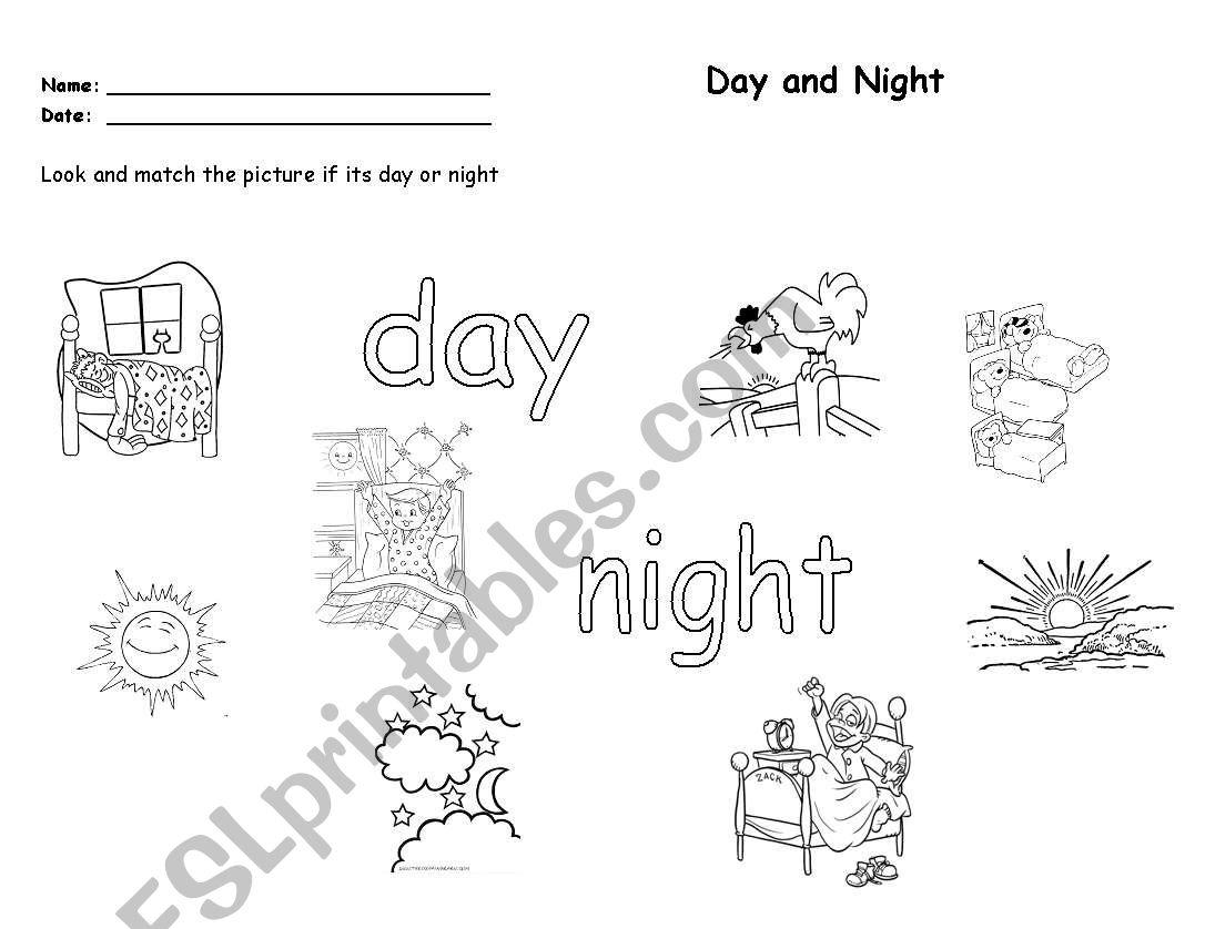 Match Day And Night Esl Worksheet By Feromtz