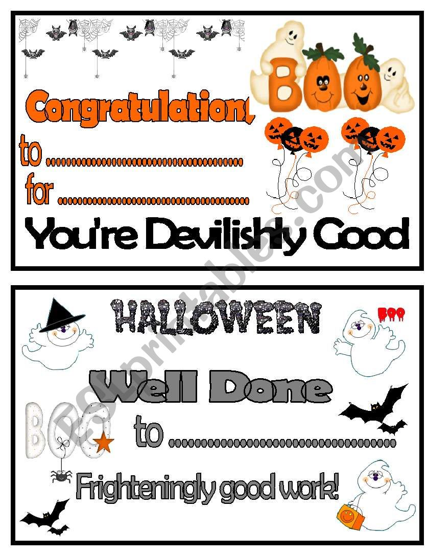 Halloween Congratulations Certificates Ii Esl Worksheet By Taminka