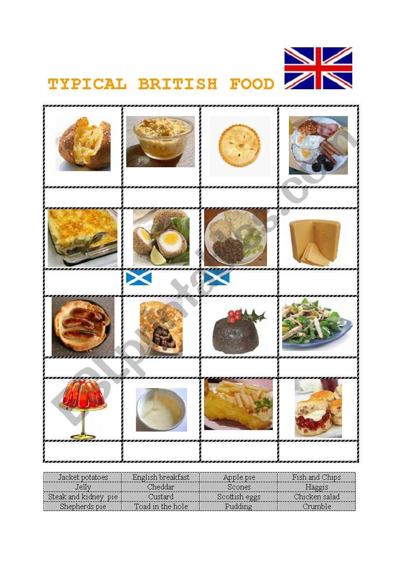 british food worksheet