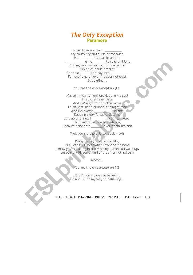 THE OLY EXCEPTION - PARAMORE worksheet