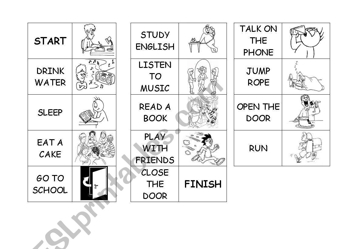 Action Verbs - Domino Game worksheet