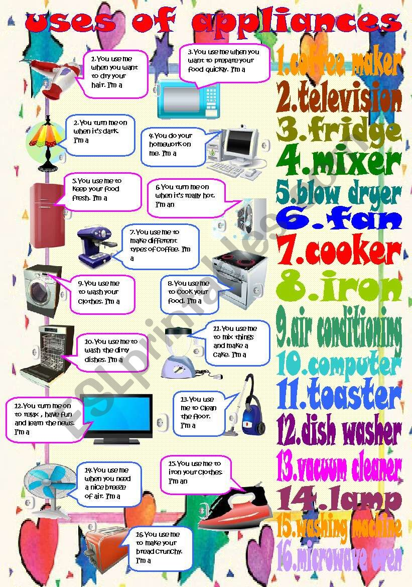 uses of appliances worksheet
