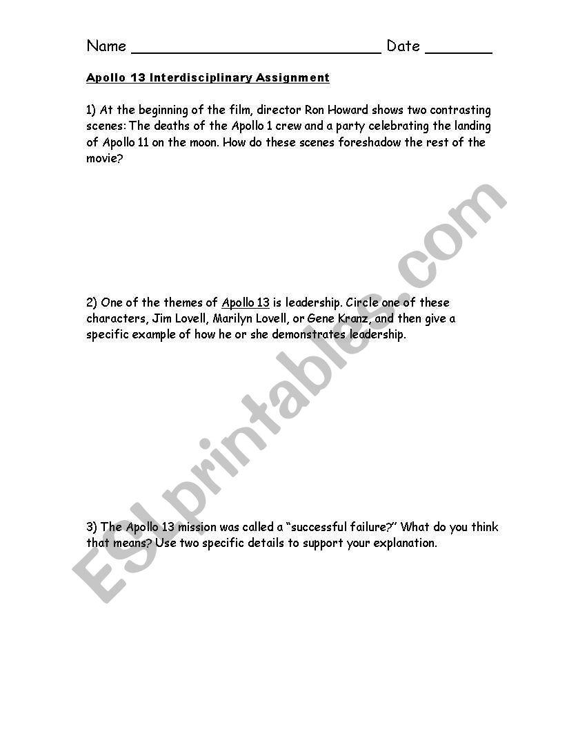 English Worksheets Apollo 13 Interdisciplinary Assignment