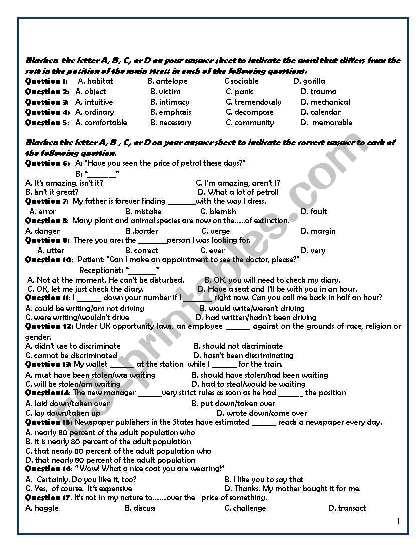 multiple choice grammar test - ESL worksheet by englishavatar