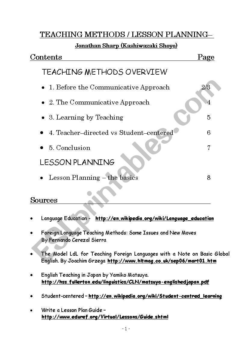 teaching method lesson planning - ESL worksheet by tahara hime