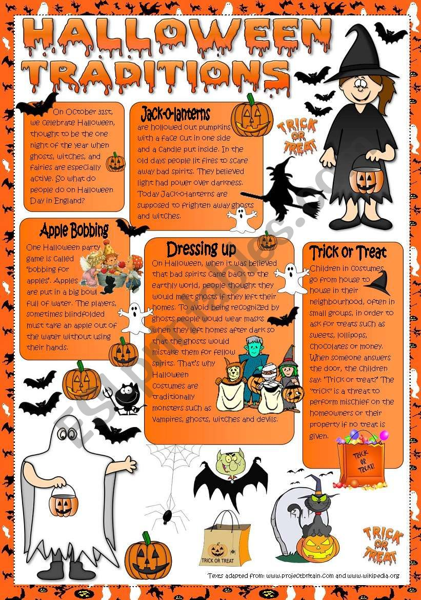 Halloween Taditions - reading worksheet