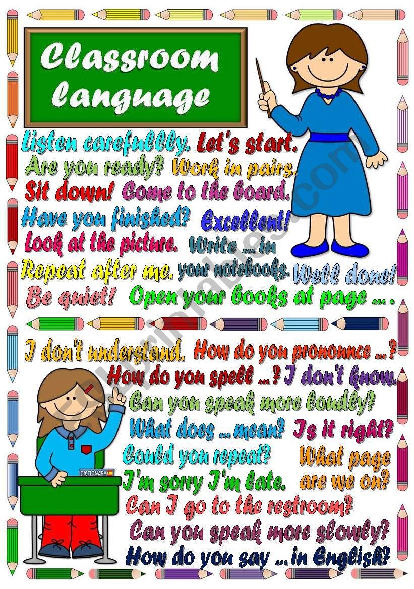 Classroom language - POSTER worksheet
