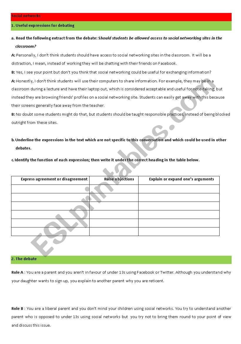 debate on social networks worksheet