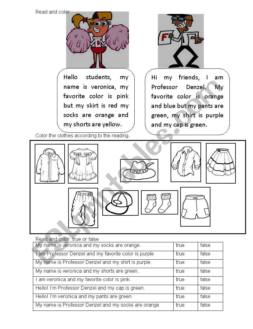 - CLOTHES - READING COMPREHENSION - ESL Worksheet By Pacsito_gigi