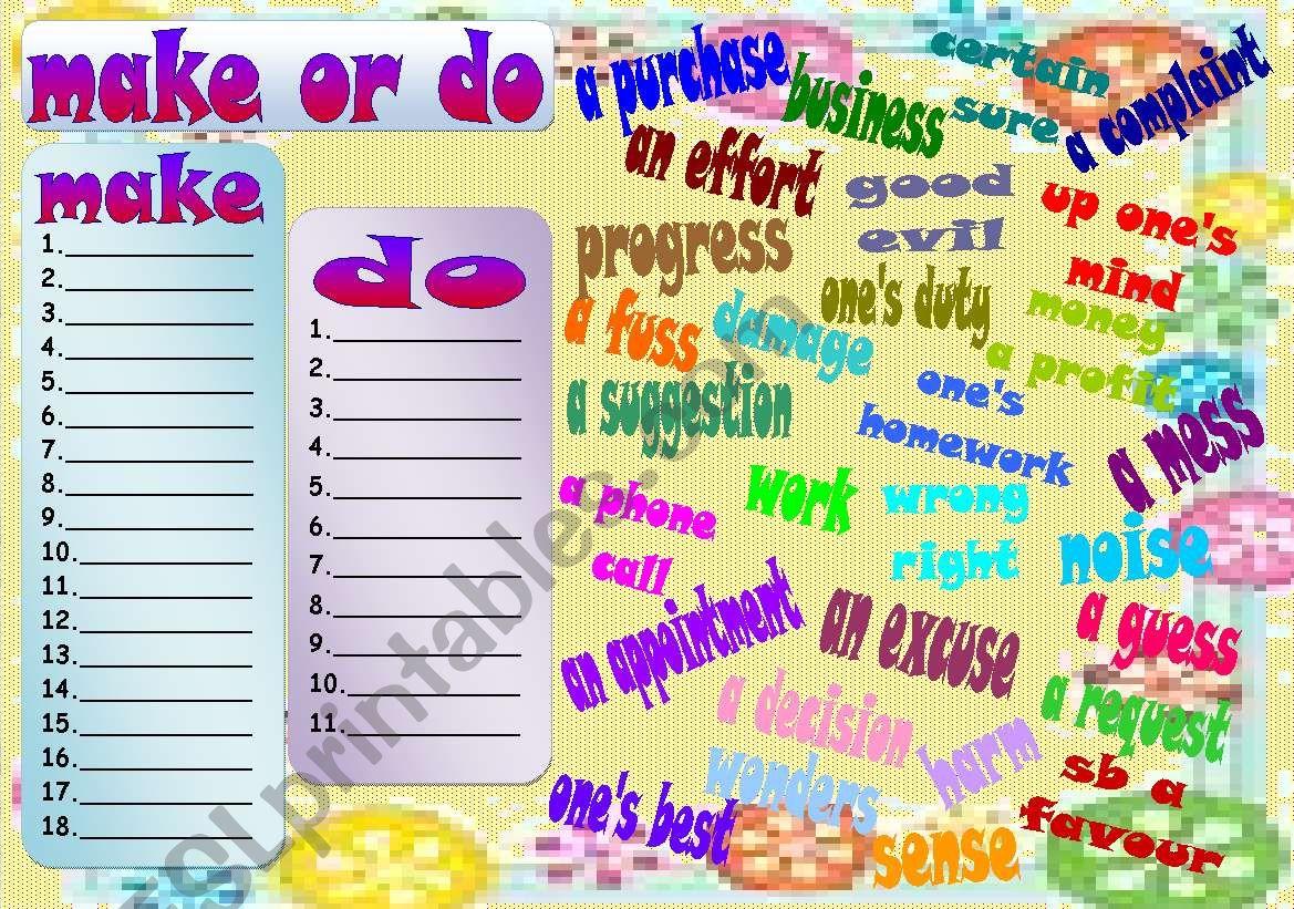make or do worksheet