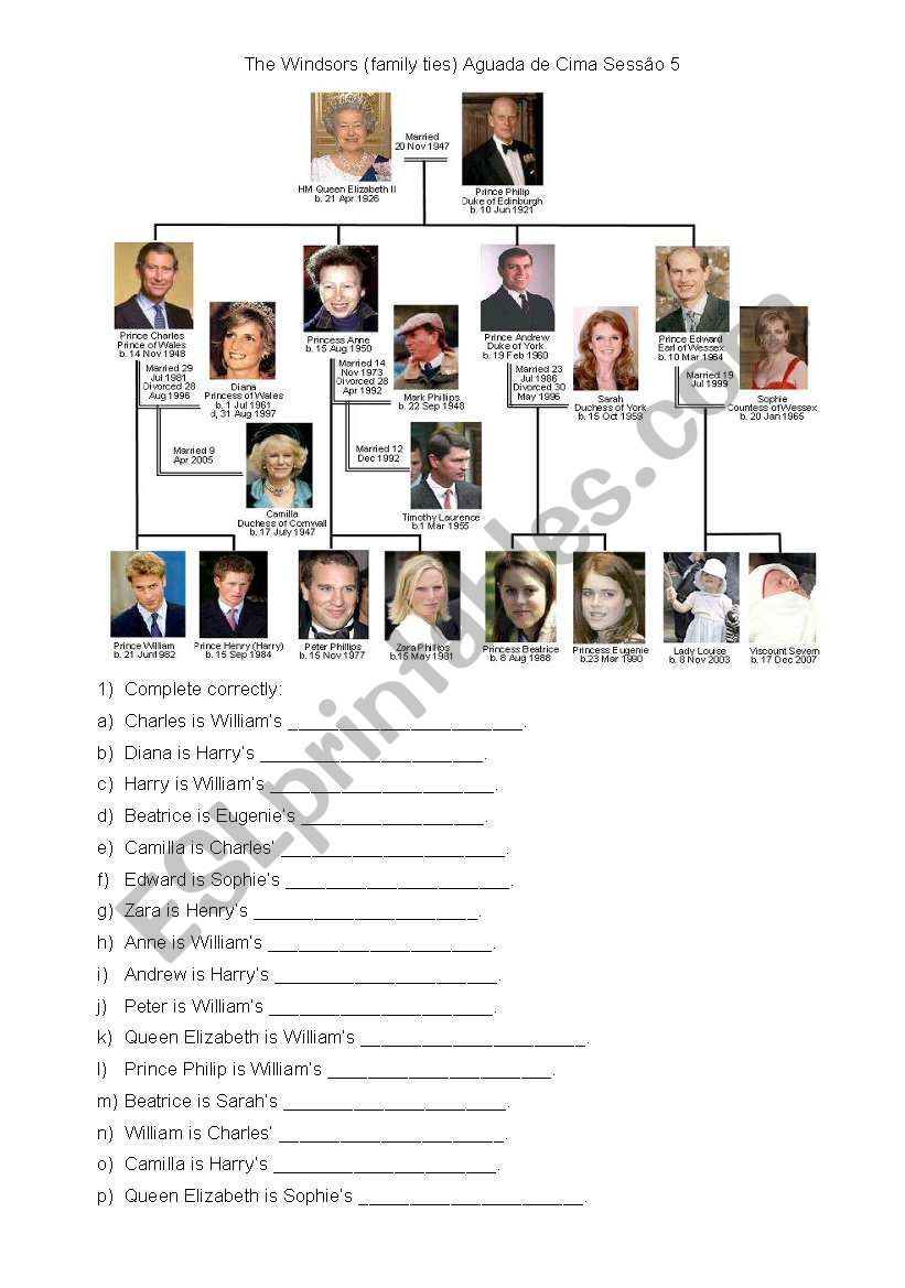 Royal family worksheet