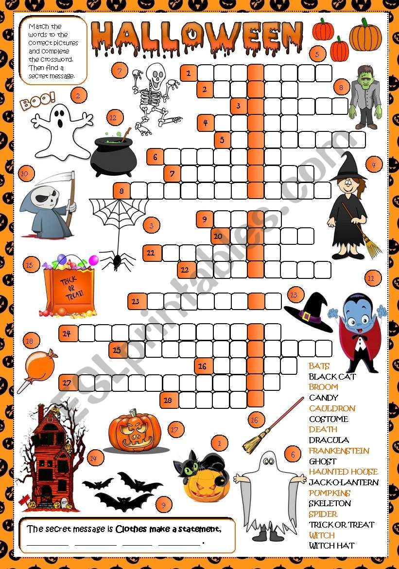 Halloween - CROSSWORD (Greyscale + KEY included)
