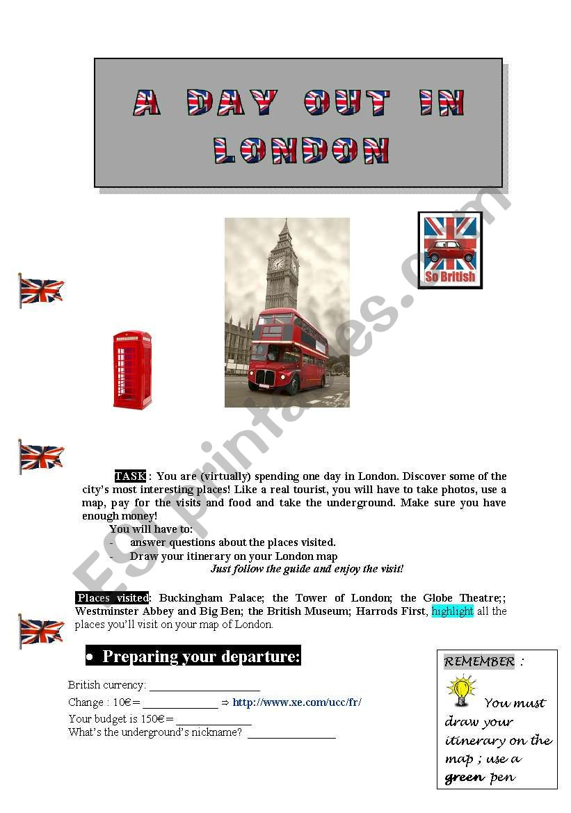 A day out in London part 1 worksheet