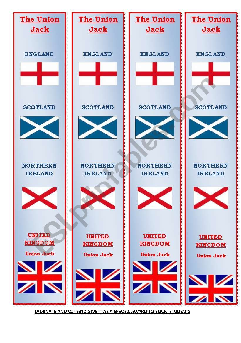 THE uNION jACK IN A BOOKMARK worksheet