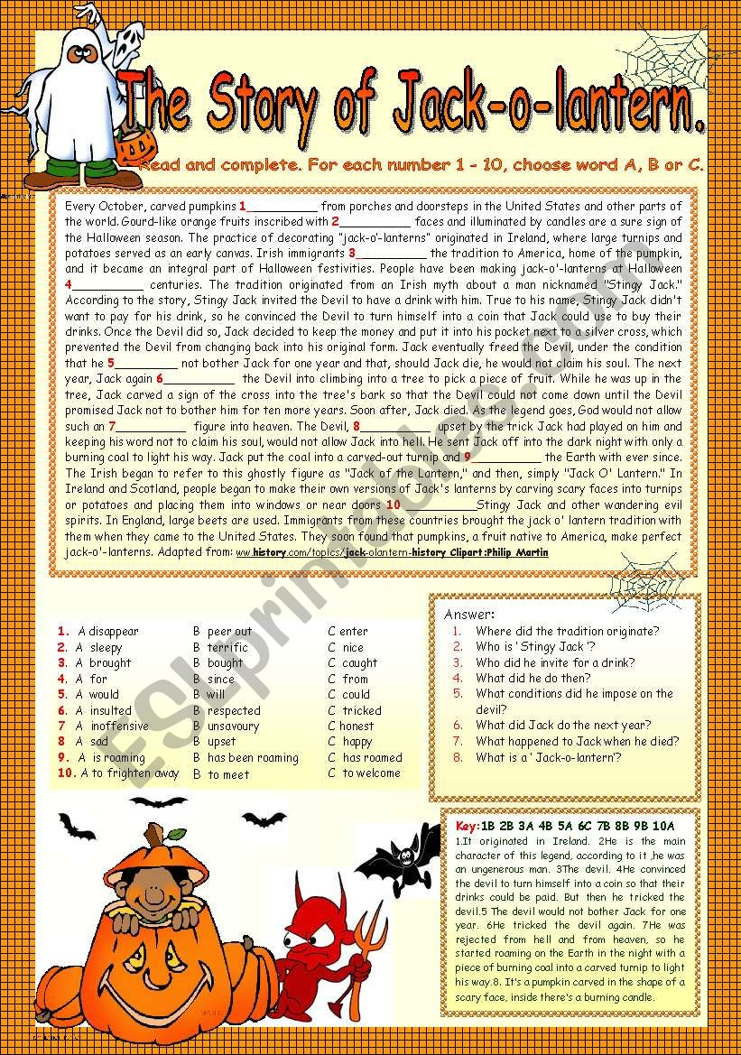 THE STORY OF JACK-O-LANTERN. worksheet