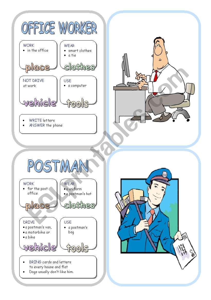 Job Cards - Set 8 worksheet