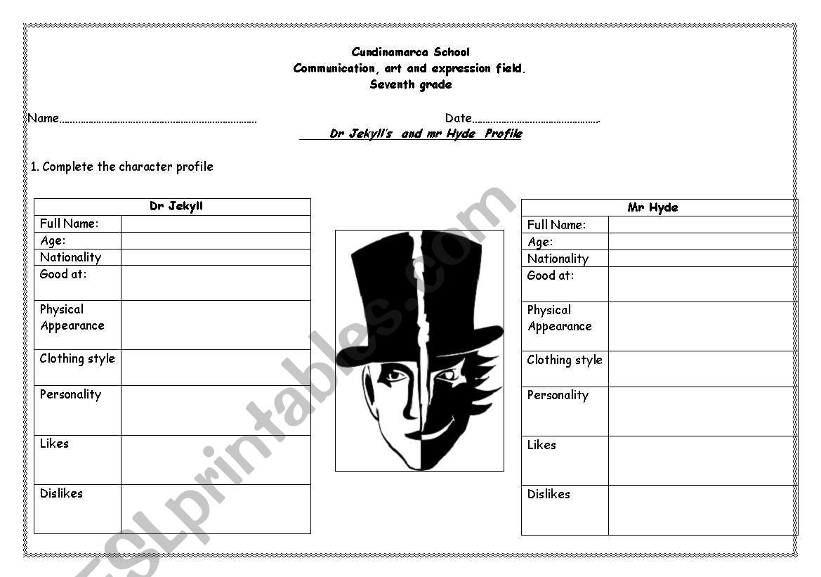 Dr Jekyll's  and Mr Hyde  worksheet