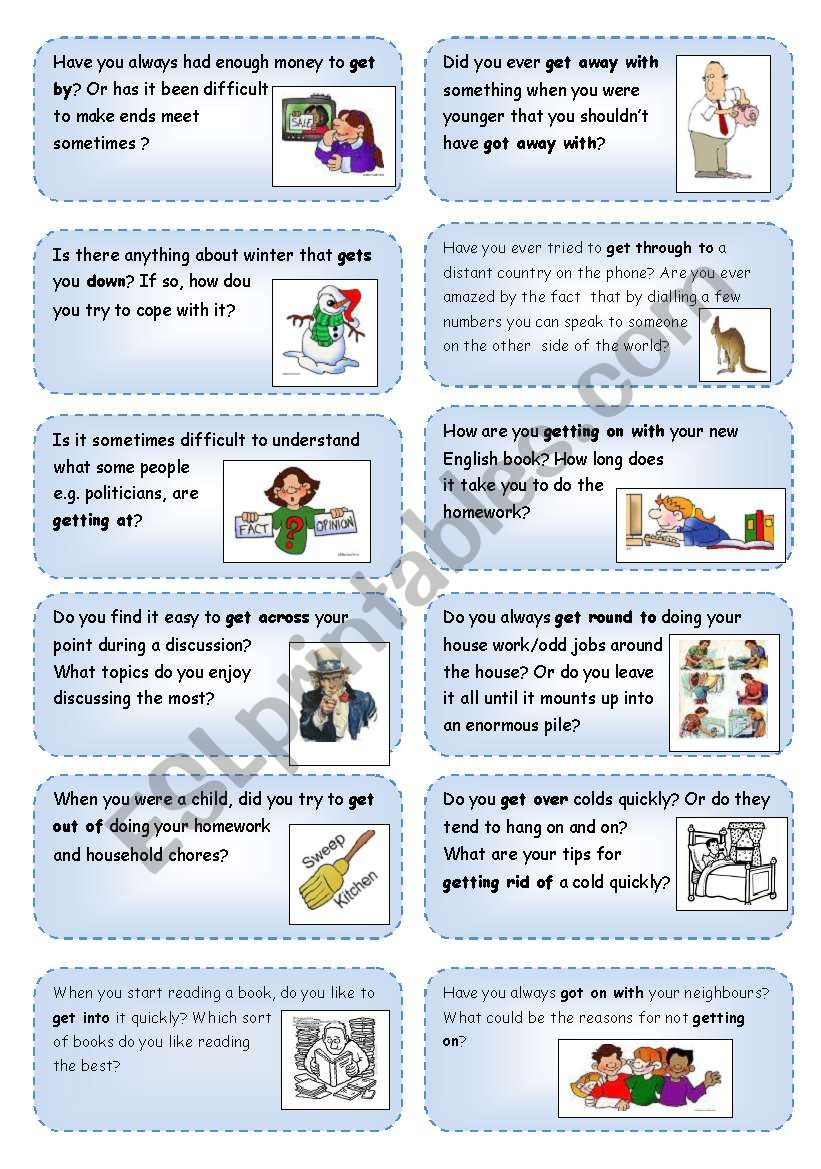Conversation cards (4) focusing on phrasal verbs with GET_1