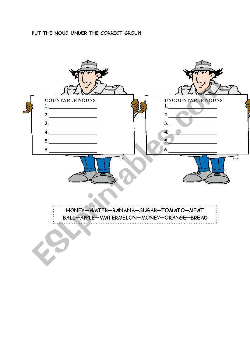 Countable Uncountable Nouns Esl Worksheet By Psko