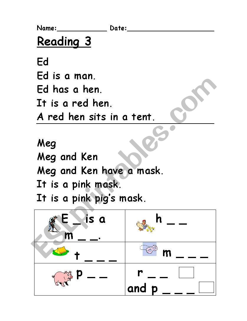 Reading 3 : Phonics - ESL worksheet by Clare Baldacchino