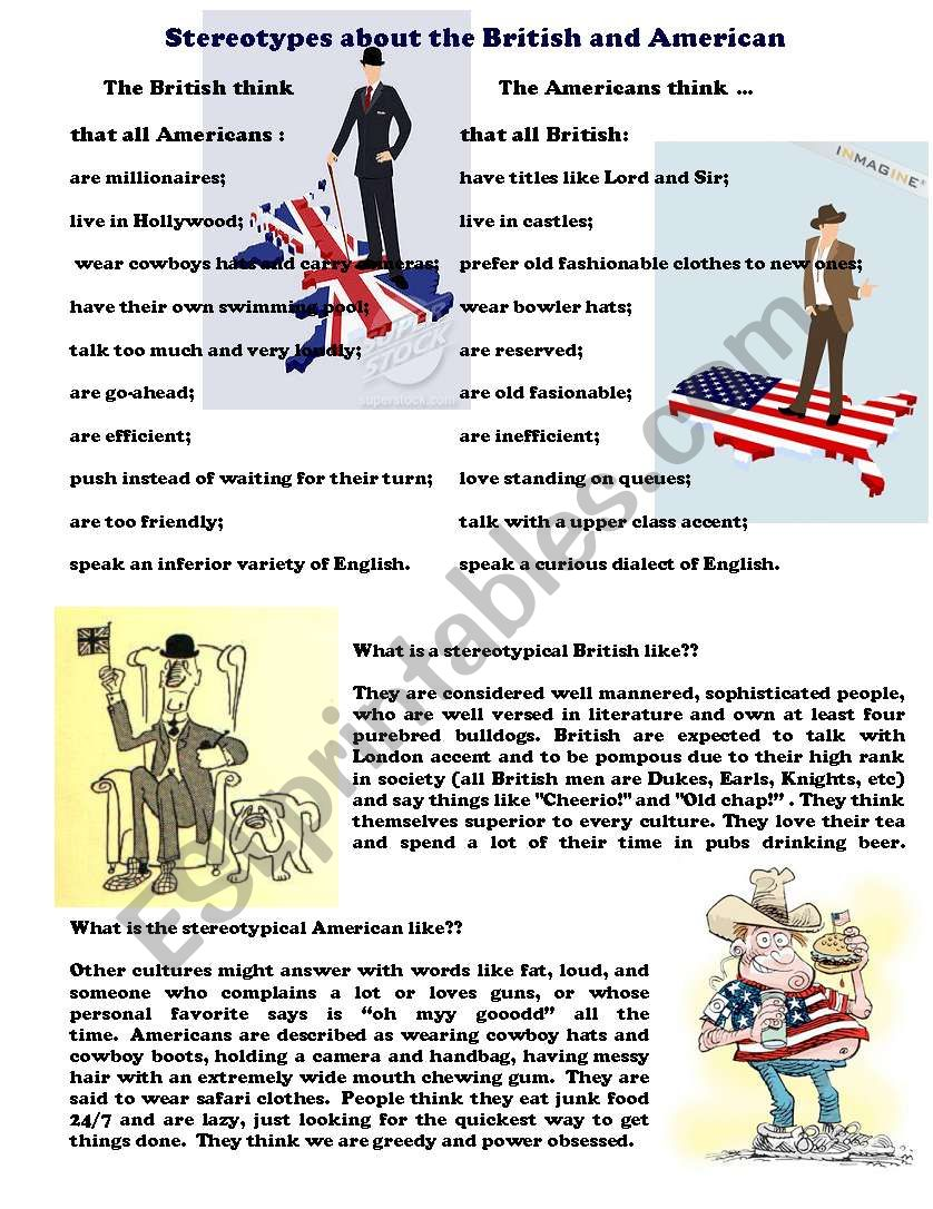 Stereotypes about British and American