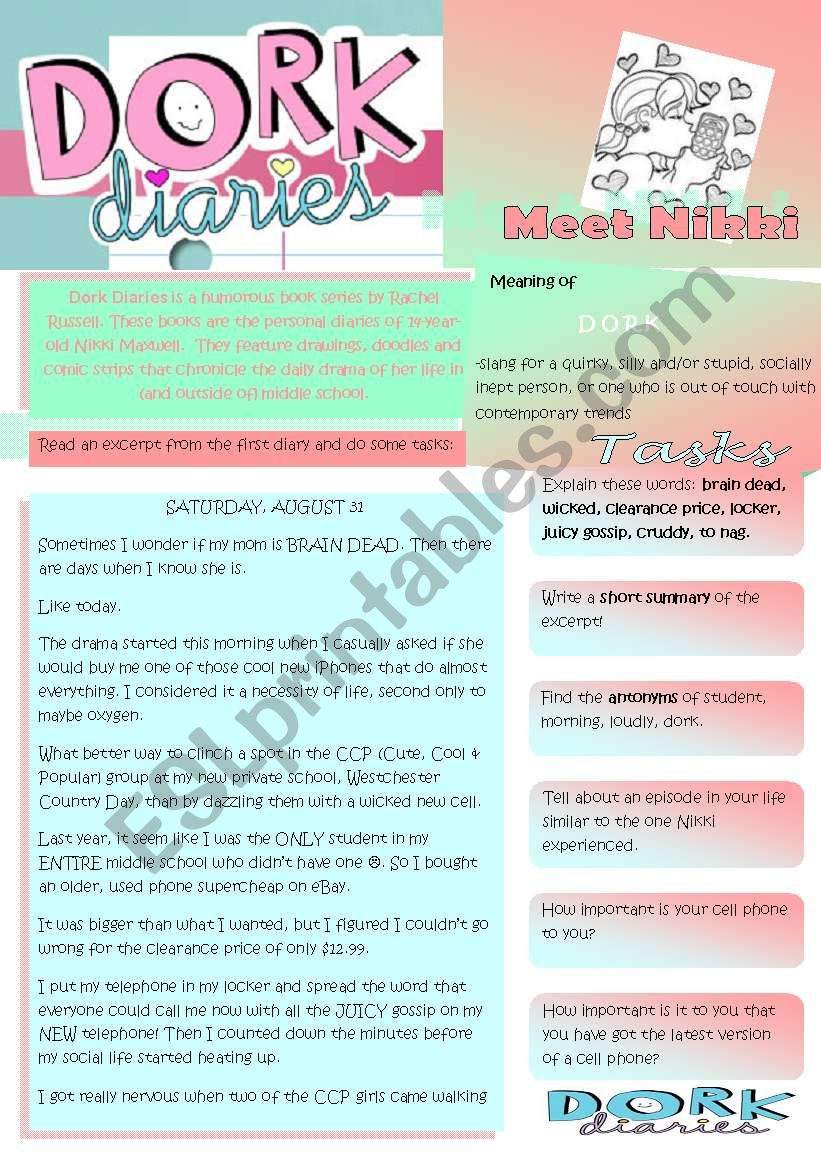 Dork Diaries Worksheets Dork Diaries Worksheets Related To